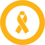 Yellow ribbon for pediatric cancer.